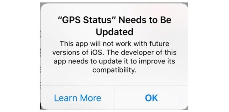 Warning in iOS 10.3 than a 32-bit app will soon stop working.
