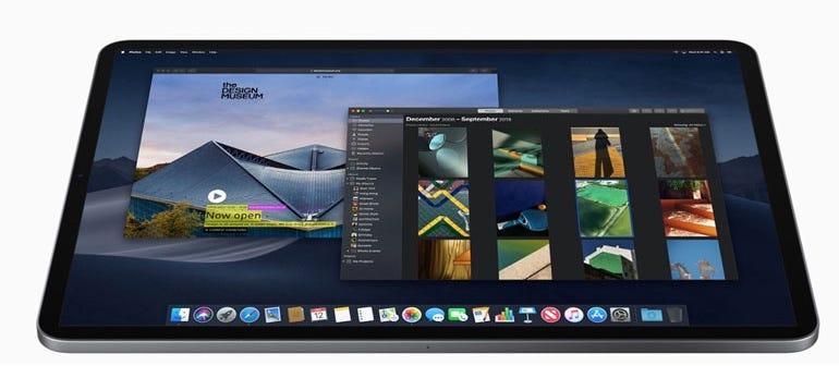 Mockup of an iPad Pro running macOS