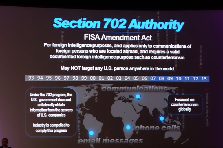 NSA Director Black Hat keynote slide: Section 702