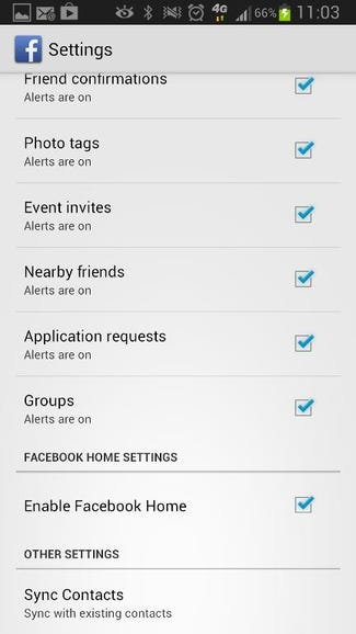 Enable Facebook Home from within updated Facebook app