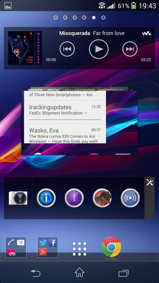 Widgets and shortcuts on the Z1s