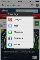 iOS sharing options