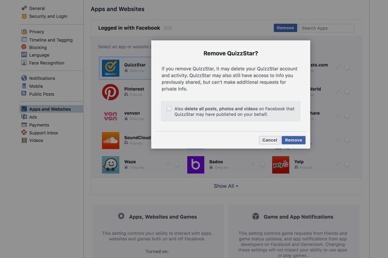 Unlink any Facebook apps from your account