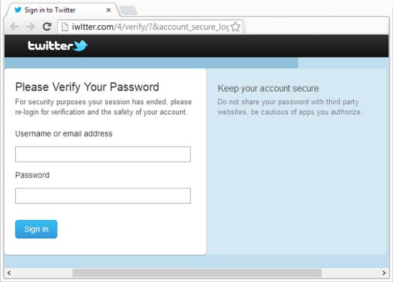 twitter phishing login