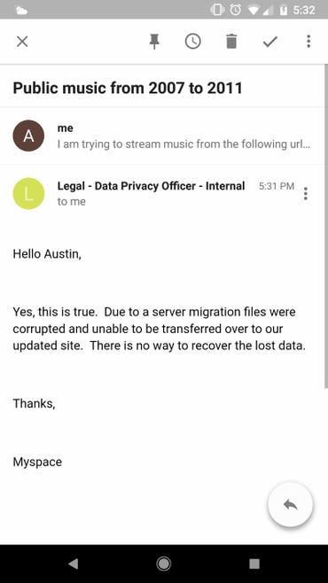 MySpace exec email