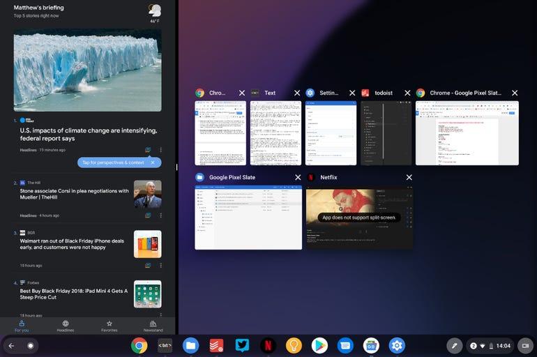 Split screen with recent apps