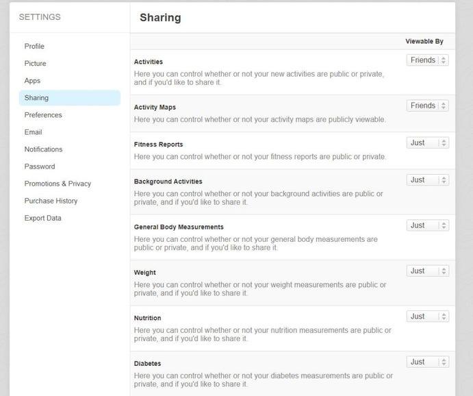 Runkeeper sharing settings