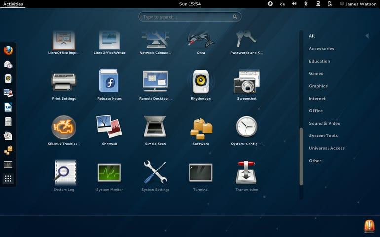Fedora 18 - Gnome 3 Desktop - Application Menu