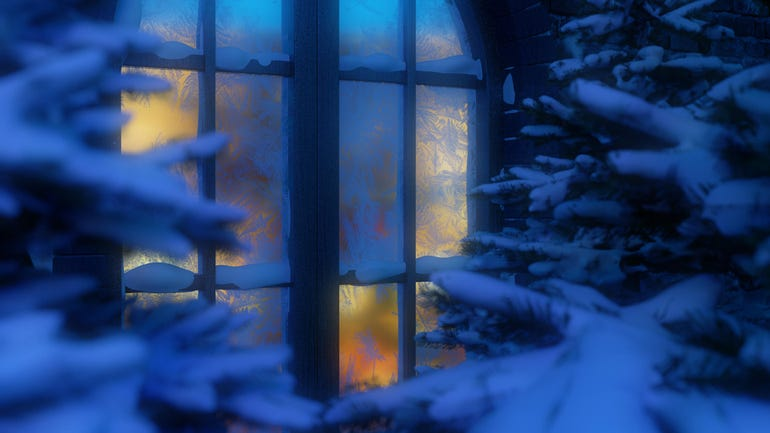Winter village cottage landscape. Snowy forest. Snow. Snow-covered Christmas tree. Snowfall. Winter vacation. View of the luminous window through the