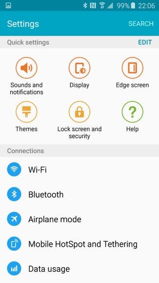 New settings area