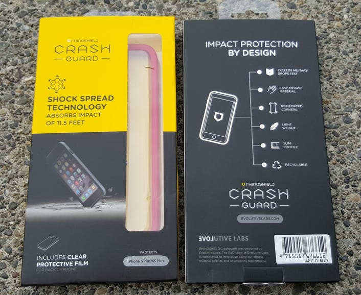 Front and back of the Crash Guard retail package