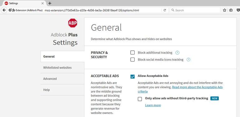 Configure ad blocking