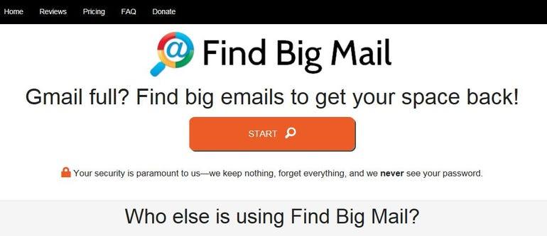 Findbigmail web page