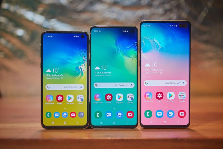 Samsung Galaxy S10E, S10, andS10 Plus phones