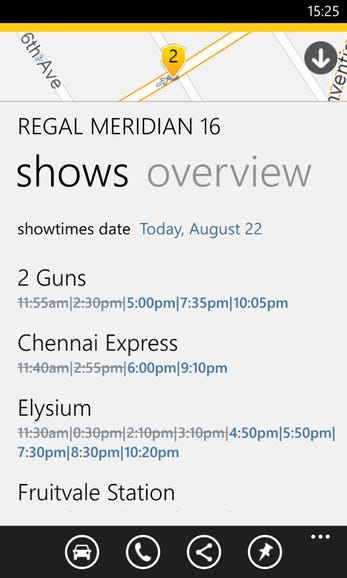 Viewing showtimes at the theater