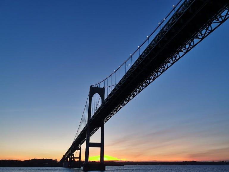 Newport bridge in the evening
