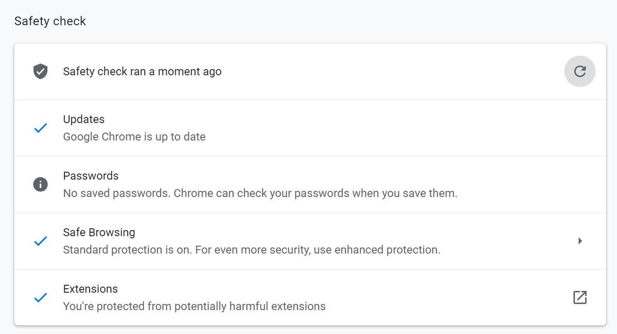 Running Google Chrome Safety check