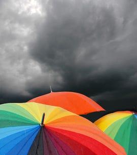Umbrella, storm clouds