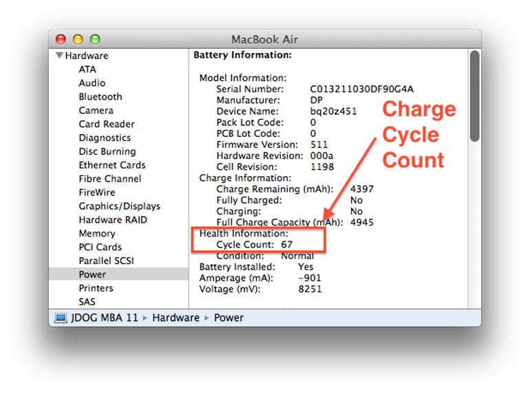 Check your MacBook battery's charge cycle count here - Jason O'Grady