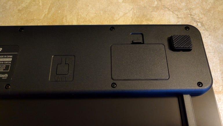 Rubber feet, unit button, battery compartment