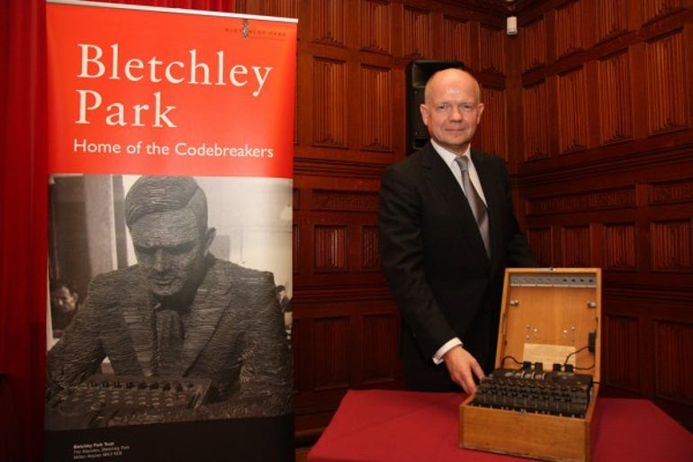 Foreign secretary William Hague with the Enigma machine that will go on display in the Foreign and Commonwealth Office