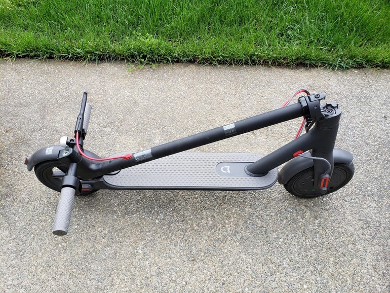 Mi Electric Scooter folded for carrying