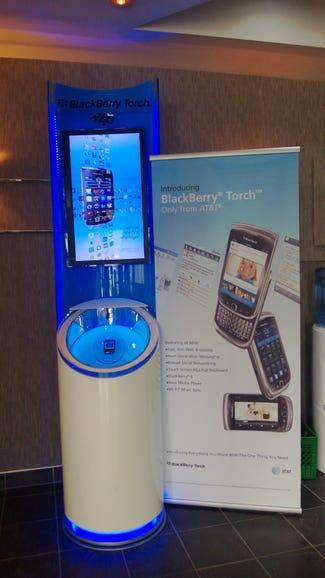 A kiosk advertising the LTE BlackBerry Torch inside BlackBerry headquarters