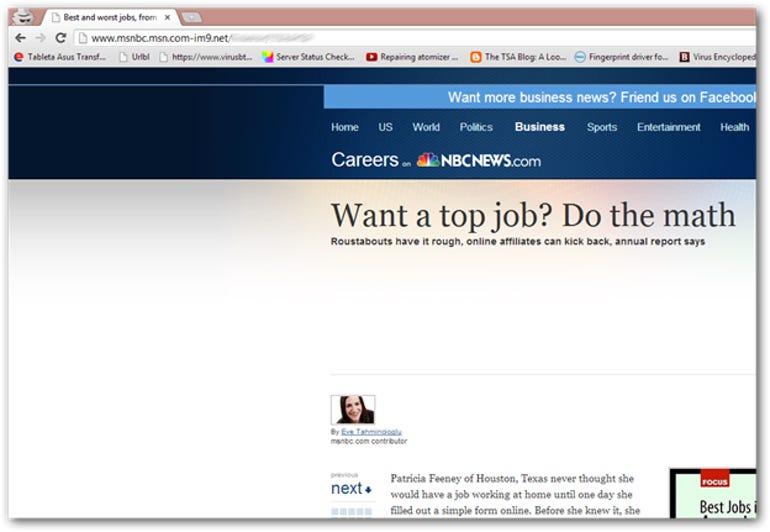 Fake MSN website screenshot
