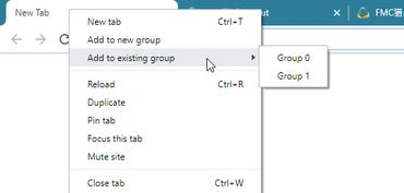 Chrome Tab Groups menu