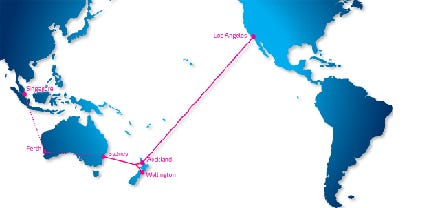 The planned fibre cable route connecting Australia, New Zealand and the US