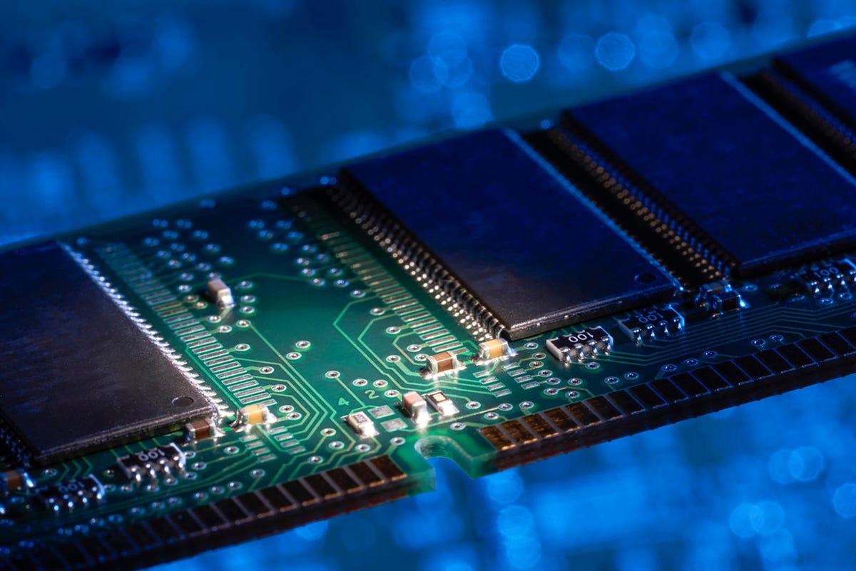 Computer memory closeup