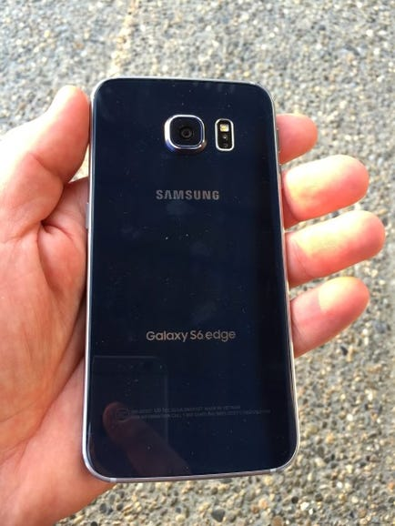 Galaxy S6 Edge in hand, back