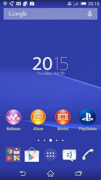 Typical default Sony Xperia Z3 home screen