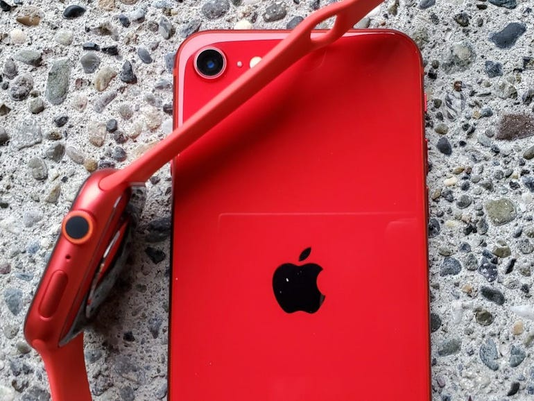 Apple Watch Series 6 and iPhone SE in (PRODUCT)RED