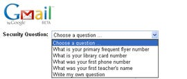 Gmail Security Questions