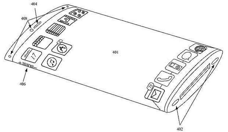 apple iphone patent design flexible display