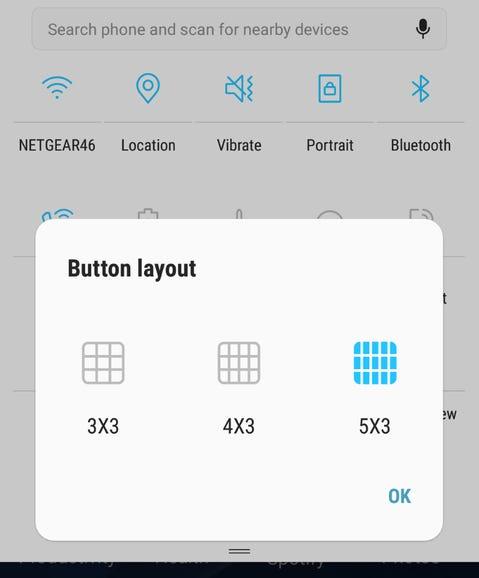 Quick controls grid layout