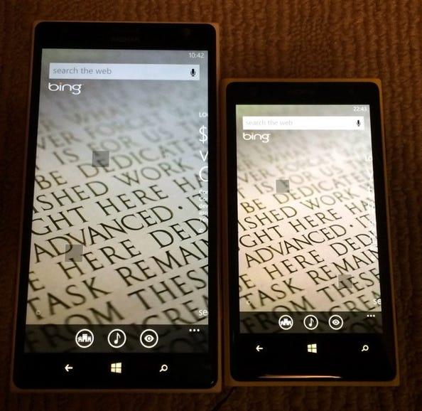 Lumia 1520 and 1020 on Bing screen