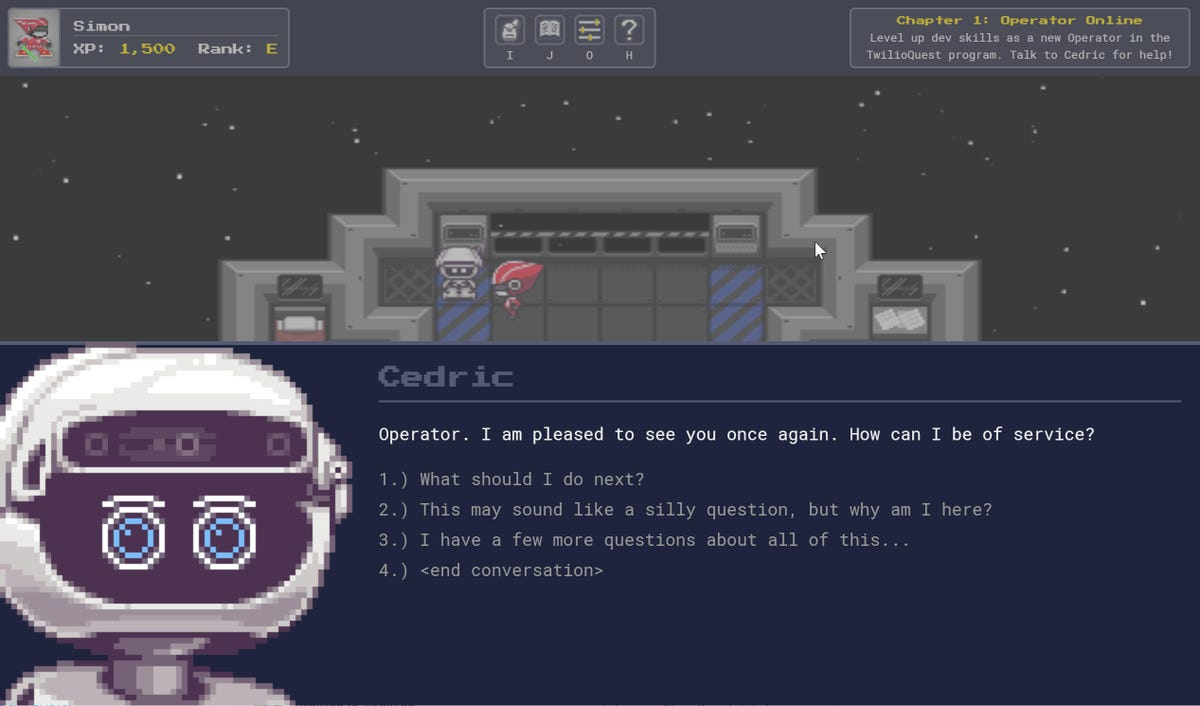 The opening screen of TwilioQuest