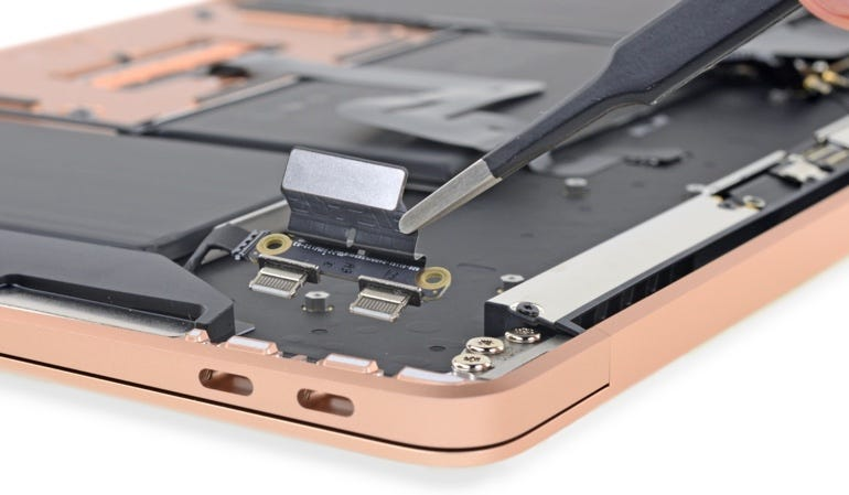The MacBook Air's ports are on separate boards, so replacement won't mean having to throw away the expensive mainboard