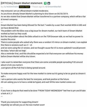 Dream Market shutdown explanation