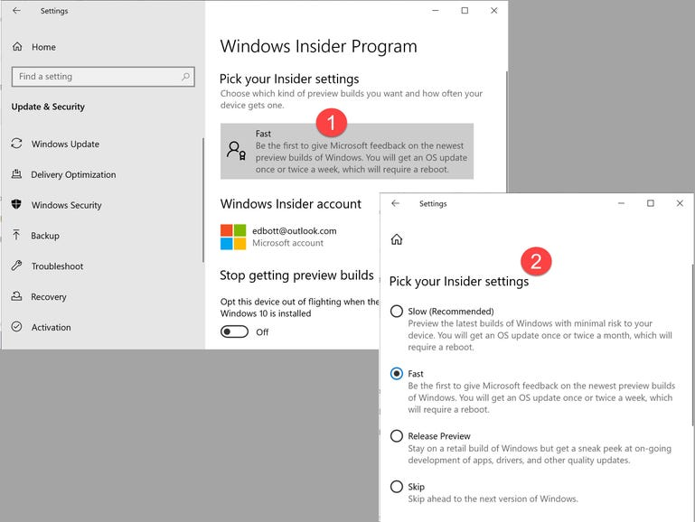 Extra options for Windows Insiders