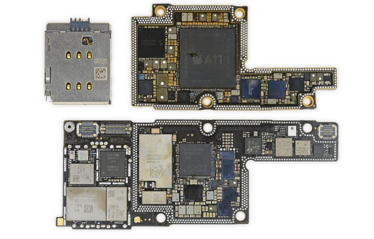 The iPhone X mainboard is two boards sandwiched together