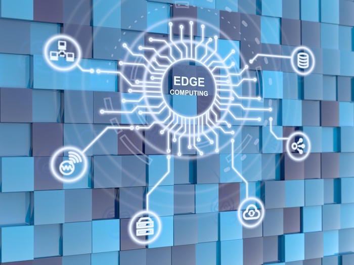 Edge computing circuit circle on blue cube background