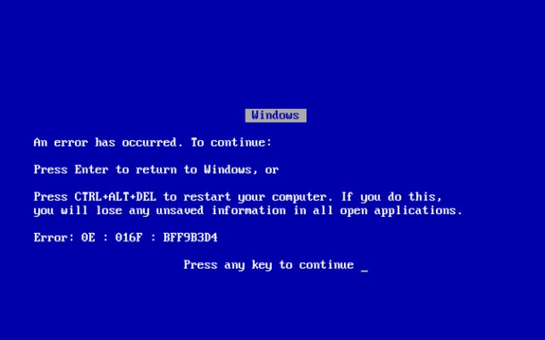 Blue screen of death lives on