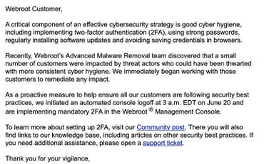 Webroot email for enabling 2FA