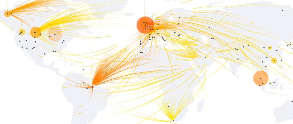 DDoS botnet globe map