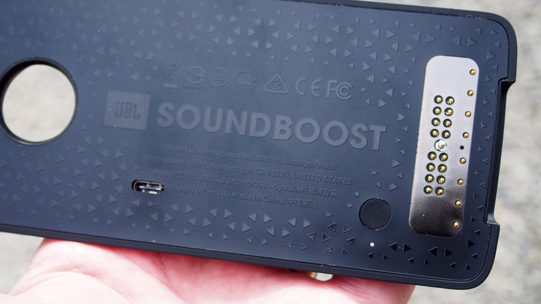 Front of the JBL SoundBoost speaker with USB Type-C port