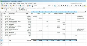 Vinnie's expense report in Excel
