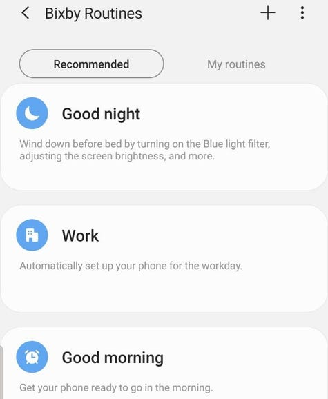 Recommended Bixby Routines